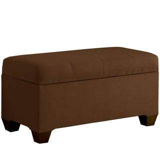 Skyline Furniture Storage Bench with Seams in Micro-Suede Chocolate