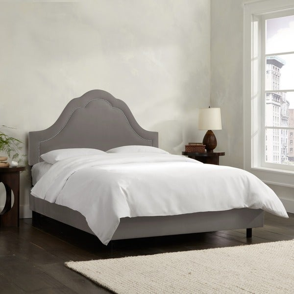 Skyline Furniture Arch Inset Nail Button Bed in Micro-Suede Charcoal