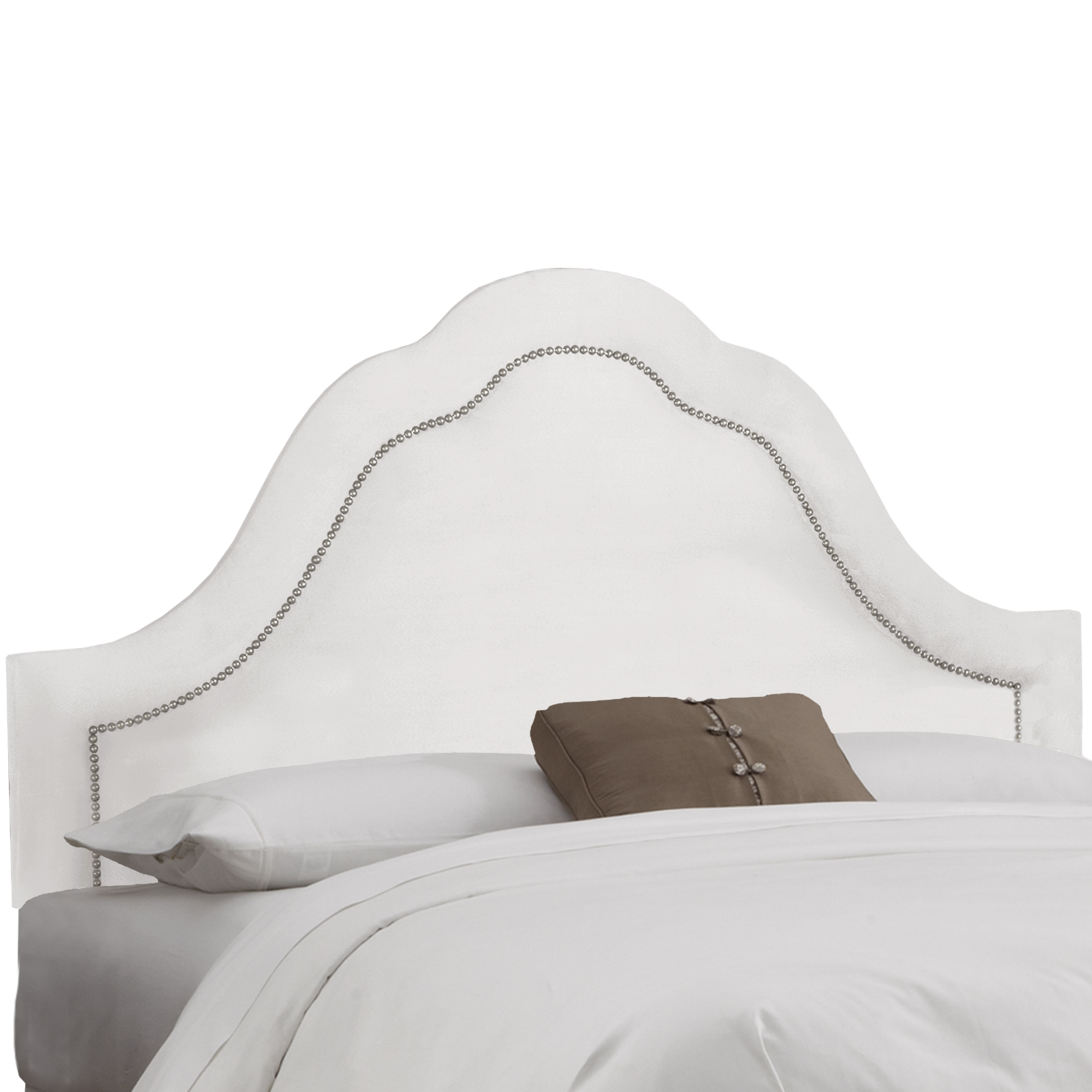 Skyline Inset Nail Button Headboard in Micro-Suede White ...