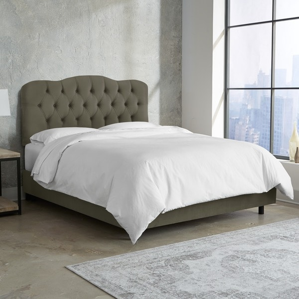 Shop Skyline Furniture Tufted Bed In Velvet Pewter