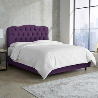 Skyline Furniture Tufted Bed in Velvet Aubergine