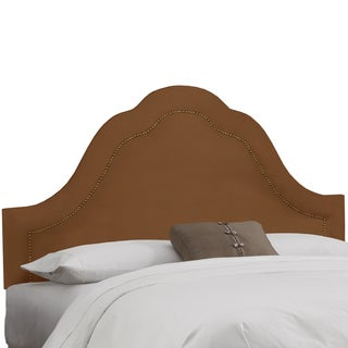 Skyline Furniture Inset Nail Button Headboard in Micro-Suede Chocolate