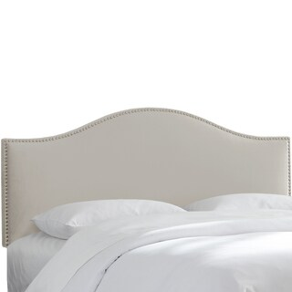 Nail Button Headboard in Velvet Light Grey- Skyline Furniture