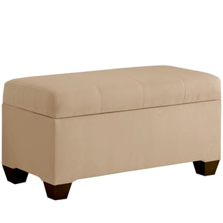 Skyline Furniture Storage Bench with Seams in Micro-Suede Oatmeal
