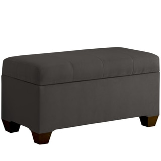 Skyline Furniture Storage Bench with Seams in Micro-Suede Charcoal