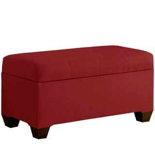Skyline Furniture Storage Bench with Seams in Micro-Suede Red