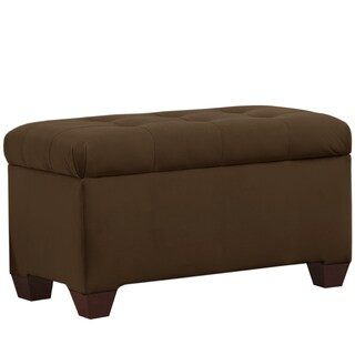 Skyline Furniture Tufted Storage Bench in Velvet Chocolate
