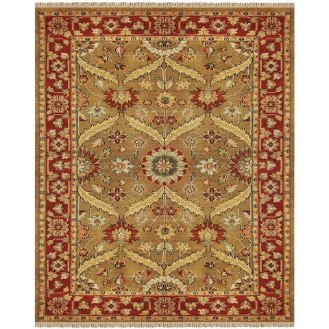"""Grand Bazaar Hand-knotted 100-percent Wool Pile Pietra Rug in Gold/Red 5'-6"""" x 8'-6"""" - 5'-6"""" x 8'-6"""""""