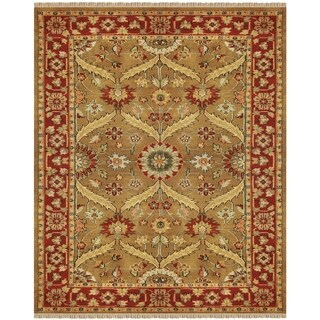 Grand Bazaar Hand-knotted 100-percent Wool Pile Pietra Area Rug in Gold/ Red (5'6 x 8'6)