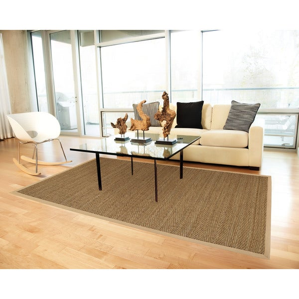 Jani Tide Natural Herringbone Seagrass Rug with Khaki Cotton Border - 9' x 12'