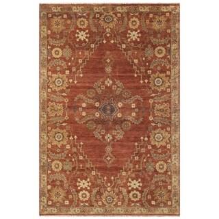 Grand Bazaar Hand-knotted Wool Pile Kartum Area Rug in Rust (5'6 x 8'6)