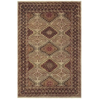 Grand Bazaar Hand-knotted Wool Pile Isabella Rug in Camel/ Brown (5'6 x 8'6)