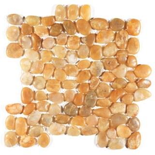 Polished Yellow Pebble Mesh Tile (Pack of 11)