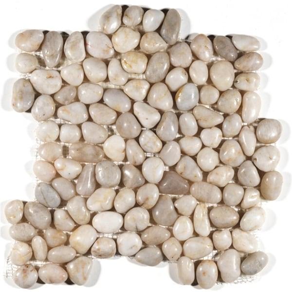 Polished White Pebble Mesh Tile (Pack of 11)