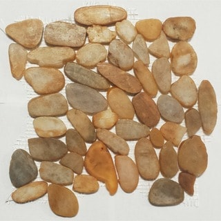 Flat Maple Color Pebble Mesh Tile (Pack of 5)