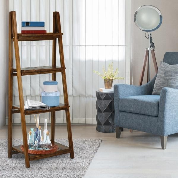 Manhasset Slatted 4-shelf Folding Bookcase