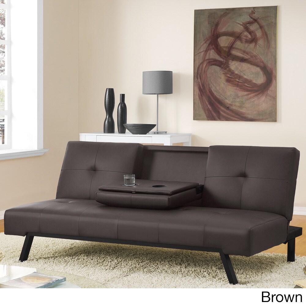 Dhp Wynn Cupholder Futon Sofa Bed