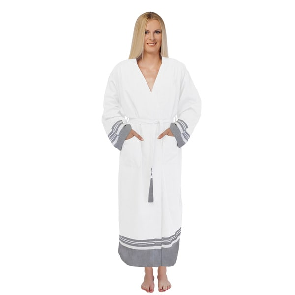 Unisex White Super Luxe Turkish Cotton Pestemal Oversized Small/ Medium Bathrobe