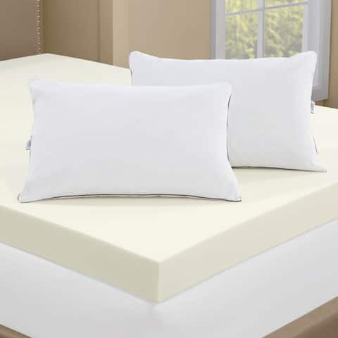 Touch of Comfort 4-inch Memory Foam Mattress Topper with 2 Memory Foam Pillows