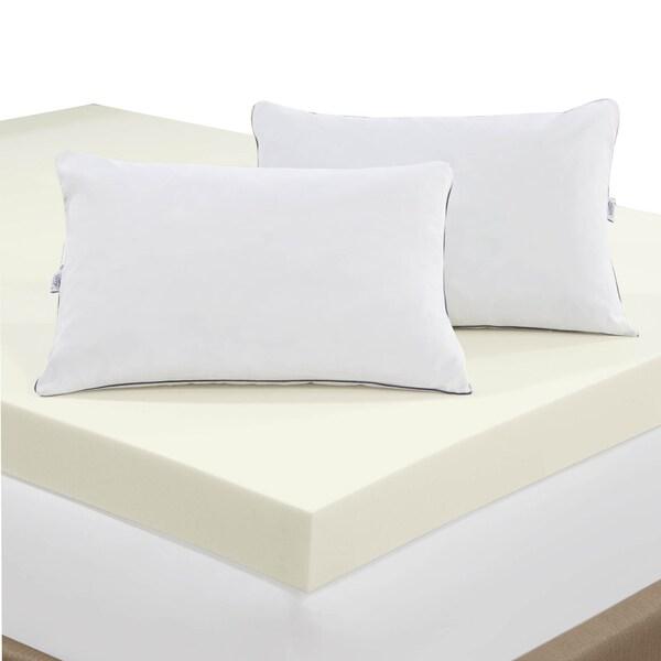 serta 4inch memory foam mattress topper with 2 memory foam pillows free shipping today