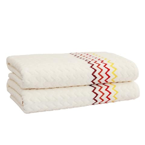 Authentic Hotel and Spa Luxury Jacquard Chevron Turkish Cotton Bath Towel (Set of 2)