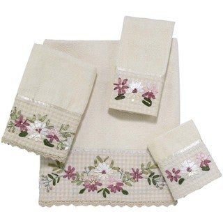 Avanti Victoria Cotton Embellished Floral 4-piece Towel Set