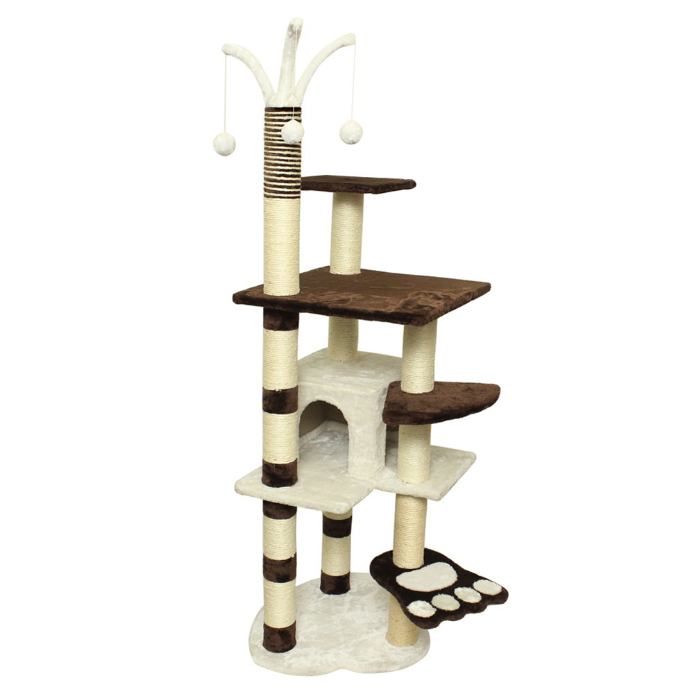 Oxgord Brown/ White 64-inch Tall Cat Tree Tower Condo (Br...