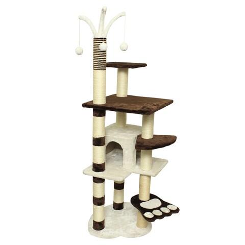 OxGord Brown/White Wood/Fleece 64-inch Tall Cat Tree Tower Condo