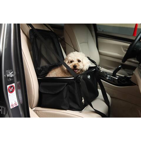 Pet Life Black Collapsible Nylon Pet Booster Seat