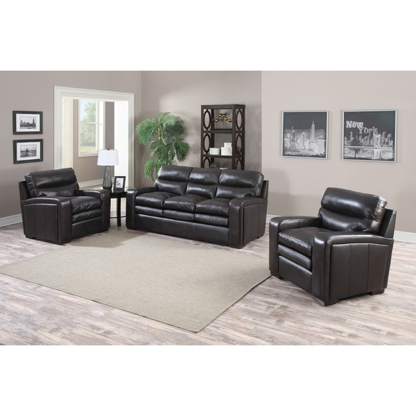 Mercer Dark Brown Italian Leather Sofa and Two Leather Chairs