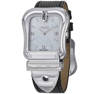 Fendi Women's F382014511D1 'B. Fendi' Mother of Pearl Dial Black Leather Strap Watch