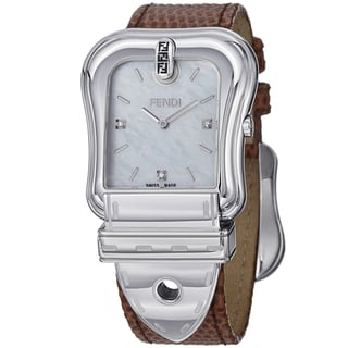 Fendi Women's F382014521D1 'B. Fendi' Mother of Pearl Dial Brown Leather Strap Watch