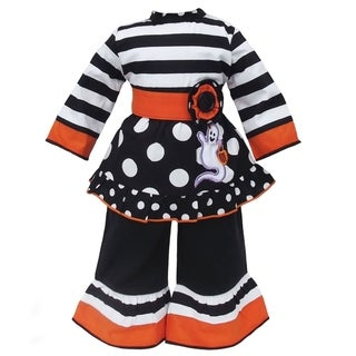 AnnLoren Halloween Stripe and Dot Ghost Doll Outfit