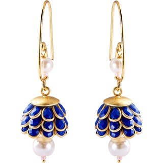 Sitara Goldtone Lapis Blue Floral Cluster Dangle Earrings (India)