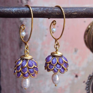 Handmade Sitara Goldtone Purple Floral Cluster Dangle Earrings (India)