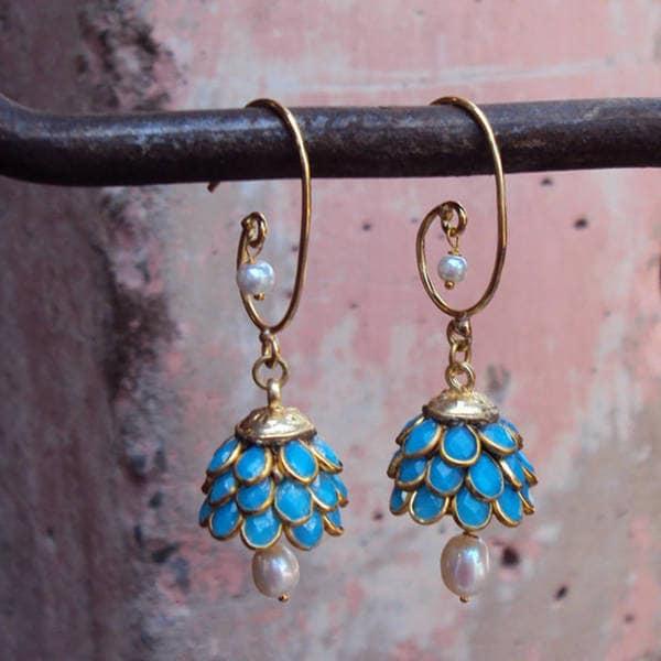 Handmade Sitara Goldtone Turquoise Blue Floral Cluster Dangle Earrings (India)