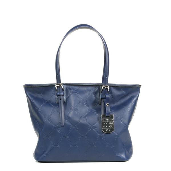 Shop Longchamp LM Cuir Small Navy Tote Bag - Free Shipping Today -  Overstock.com - 9141315 1744b773e7