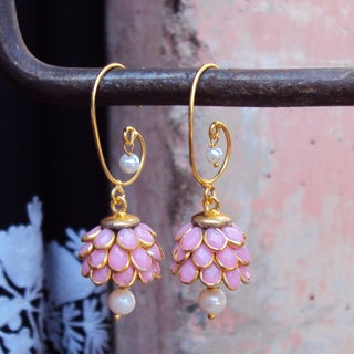 Sitara Goldtone Rose Floral Cluster Dangle Earrings (India)