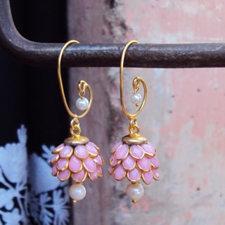 Handmade Sitara Goldtone Rose Floral Cluster Dangle Earrings (India)