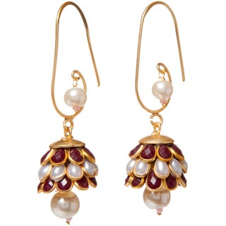 Handmade Sitara Goldtone Red/ White Floral Cluster Dangle Earrings (India)