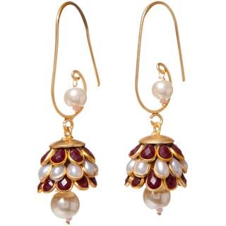 Handmade Sitara Goldtone Red/ White Floral Cluster Dangle Earrings (India)