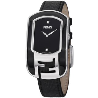 Fendi Women's F311031011D1 'Chameleon' Black Dial Black Leather Strap Watch