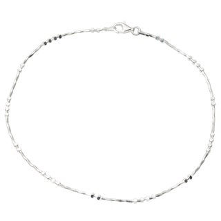 Journee Collection Sterling Silver Beaded Twist Anklet