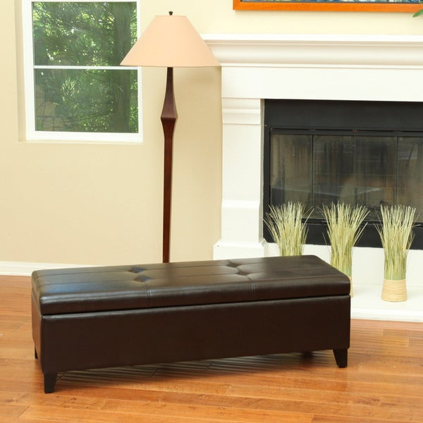 Christopher Knight Home Barrett Leather Storage Ottoman