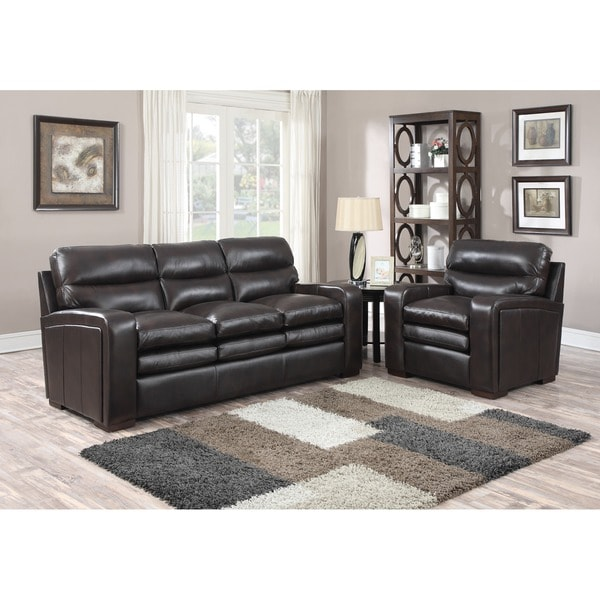 Mercer Dark Brown Italian Leather Sofa and Leather Chair