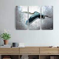 Bruce Bain 'Heron Flight' 3-piece Set Canvas Wall Art