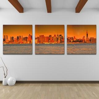 Hudson Sunset' 3-Piece Wrapped Canvas Wall Art Set