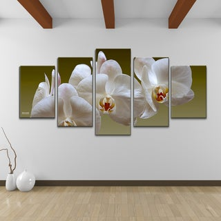 Bruce Bain 'White Orchid' 5-piece Set Canvas Wall Art