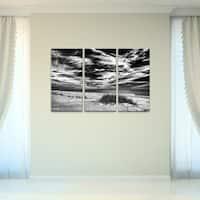 Bruce Bain 'Deserted Beach BlW' 3-piece Set Canvas Wall Art