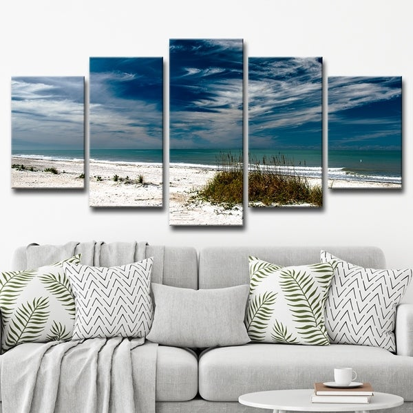 Bruce Bain 'Silent Beach' 5-piece Canvas Wall Art Set